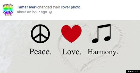 Iveri's Facebook page recently changed began spreading the message of 'Peace, Love and Harmony'.